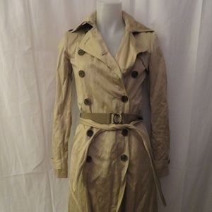 GRYPHON TAN DOUBLE BREASTED TRENCH COAT XS